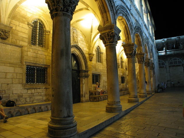 The Rector's Palace at night.