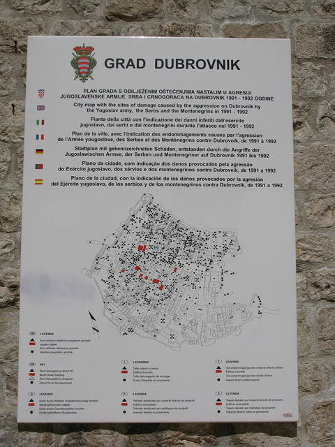 Plaque showing where Dubrovnik was bombed in the 1991 war.