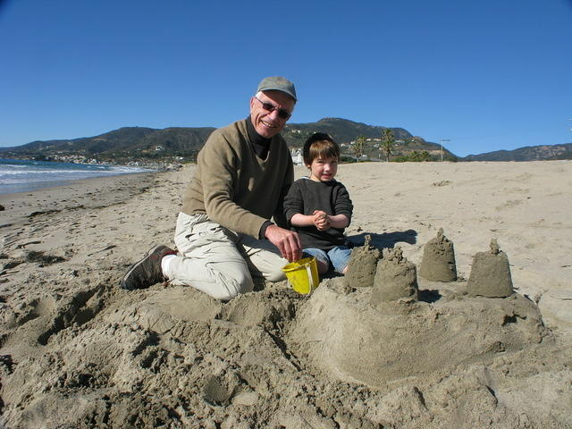 Neven's and Atticus's magnificent sandcastle.